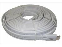 HDMI cable flat, white 15 metre long