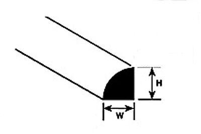 Plastruct Styrol MRQ-40 (90892) Packung 10 x 1.0mm x 250mm Länge Quarter Rund