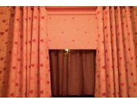 Loveable Hearts Blackout Eyelet Curtains PINK CURTAINS NEW!