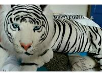 Very large black and white tiger teddy cushion huge animal