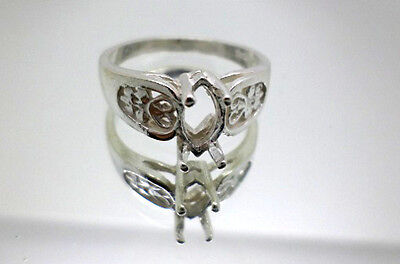 8x4mm - 12x6 mm Marquise Filigree Pre-Notched Solid Sterling Silver Ring - 4mm Marquise Ring Setting