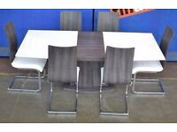 ROMAN CONRAD COLLECTION STYLISH DESIGNER DINING TABLE WITH 8 CHAIRS HIGH GLOsS