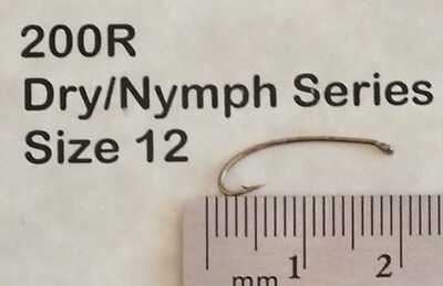 Fly Tying Hooks -  Dry / Nymph Series 3X Long  50/pkg Size 12 200R (Long Dry Fly Hook)
