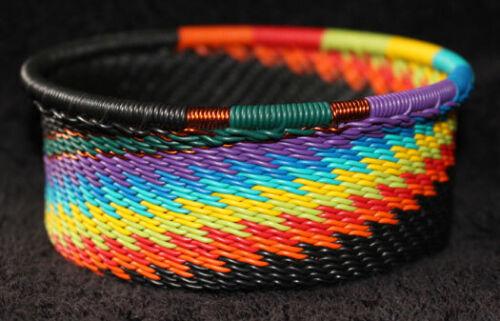 Handmade African Zulu Telephone Wire Basket Bowl - Tuna Can - Black Rainbow