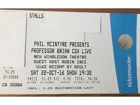 BRIAN COX tickets x 2 - ROW C Stalls - Saturday 22nd October - New Wimbledon Theatre
