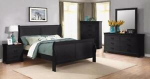 BLACK WOODEN QUEEN SIZE BEDROOM SET ON SALE  (ME46)