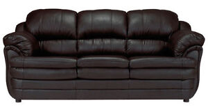 SUPER COMFY BRAND NEW 3PC LEATHER SOFA SET IN PACKAGING $1050!