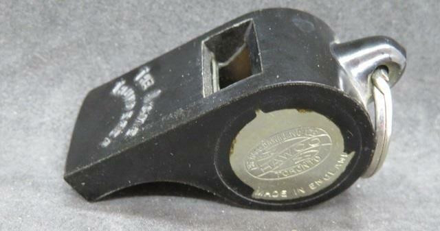 Acme Thunderer Vintage Black Bakelite Whistle Acmeoid Made in England Good Shape