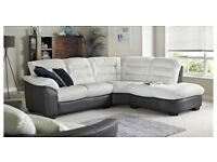 White and Black Intalian Leather L Shape Sofa and Swivel chair