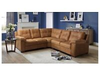 REAL LEATHER MAGNUS 3 PIECE CORNER SOFA AND FOOT STOOL BY DFS