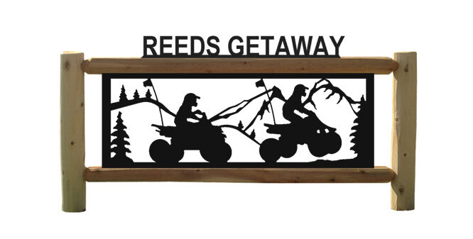 ATVS AND 4 WHEELERS - MOUNTAIN SCENES - PERSONALIZED LOG SIGNS