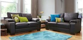Dino 3-Seater plus 2-Seater Faux Leather Sofa Set Black