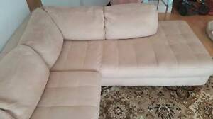 Natuzzi Sofa, Sectional, beige hide - $900 (Vancouver downtown)