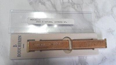 BOUCHERON MEDIUM YELLOW GOLD LIGHT BROWN OSTRICH STRAP (20X17)        #6493