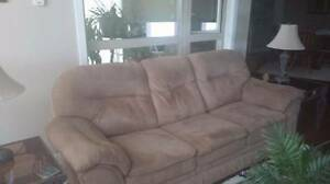 Tan Micro Suede 3 Seater Couch For Sale
