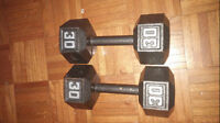 Two 30 Pound Cast Iron Hex Dumbells