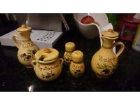 Vinegar Oil Salt Pepper Mustard Assorted Provencal Style Jars