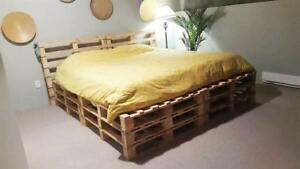 BED PLATFORM + PILLOWS + MATTRESS