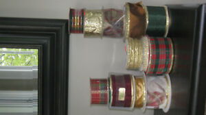 REDUCED 12 Spools of Festive Ribbons - some wired, sparkle, etc.