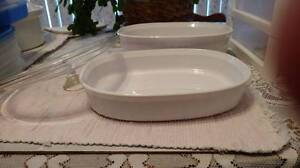 Corelle French White Oval casseroles, Two, 1.5 & 2.8 Litres, Lid