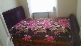 plum purple crushed velvet look a like king size bed and mattress