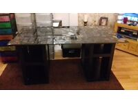 Heavy glass topped desk from ikea butterfly and flower design