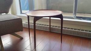 Fritz Hansen Style Solid Teak Tray Top Side Table