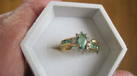 10k marquis real emerald & diamond ring size 7