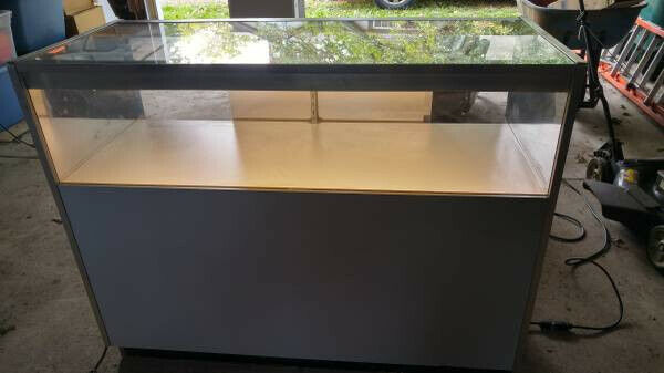 Glass Countertop Display Case Fixture Showcase With Lighting