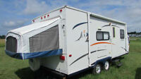 22' Hybrid Trailer, 3 Queen beds, and haul with small SUV!