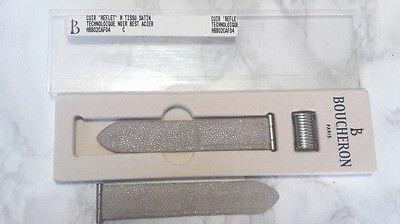 BOUCHERON REFLET MEDIUM STEEL CUIR TISSU SATIN STRAP (20X17)               #6490