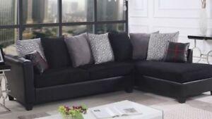 Divan sectionnel noir en tissu sofa NEUF avec 9 coussins