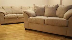 Moving sale. Sofa, loveseat, coffee table, king size wood bed. $