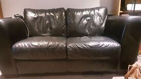 Small Black Genuine Leather Sofa