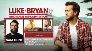 LUKE BRYAN and Sam Hunt @ BC Place Sat. Oct. 13th - GREAT SEATS!