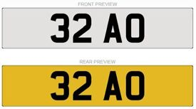 32 AO ***Dateless Private Registration Plate***