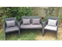 BROWN RATTAN ALL WEATHER GARDEN FURNITURE SET GOOD CONDITION CAN DELIVER