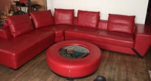 GORGEOUS Italian, high quality RED leather armchairs & sectional