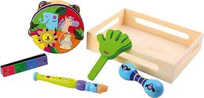 Musikset Safari aus Holz für Kinder Instrumente Musik Set Tiere Spielzeug Neu