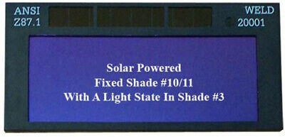 "Solar Powered Auto Darkening Welding Weld Lens 4-1/4x2"""