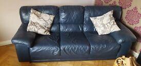 Dark Blue Leather 3 Seater Sofa