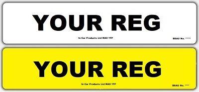 Pair of Standard MOT UK Road Legal Car Reg Registration Number Plates & Fixings