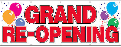 Grand Re-opening Vinyl Banner Sign 3x8 Ft - Balloons Wb