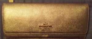 Coach Gold Leather Signature Wallet