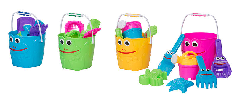 1 x Sandeimer Sandspielzeug-Set 7 tlg Strandspielzeug Sieb Förmchen Gießkanne