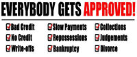 100% APPROVALS EVEN WITH BAD OR NO CREDIT!!! APPLY NOW
