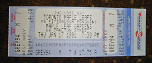 UNUSED TICKET TORONTO MAPLE LEAFS Vs PITTSBURGH MARIO LEMIEUX
