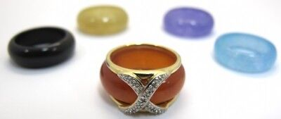 14K Yellow Gold Diamond Interchangeable 5 Multi Jade Ring Set  SIZE 4  OR (Interchangeable Jade Ring)