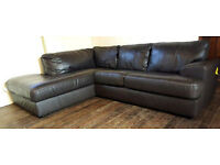 Salvatore Real Leather Left Hand Corner Sofa - Chocolate. Can deliver