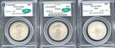 Click now to see the BUY IT NOW Price! 1936 50C COLUMBIA MS65 PCGS ONLY 582 IN HIGHER GRADE MINTAGE 9,007////